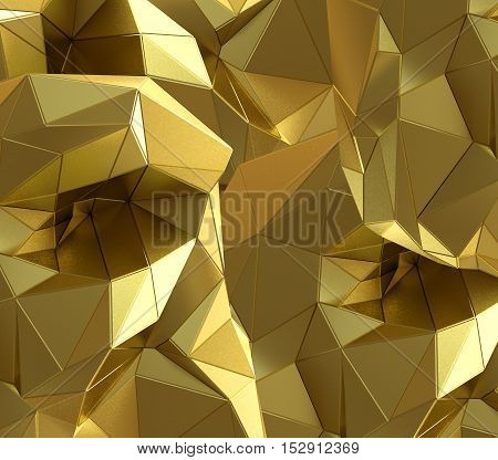 Luxury gold abstract triangle background. 3D rendering