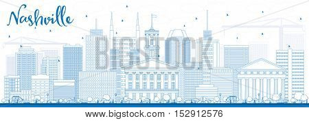 Outline Nashville Skyline with Blue Buildings. Vector Illustration. Business Travel and Tourism Concept with Modern Architecture. Image for Presentation Banner Placard and Web Site.