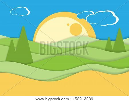 Night rural scenic background. Flat style vector illustration.Eps10