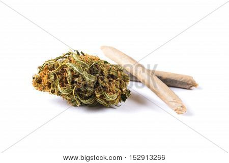 Marijuana buds and joints isolated on white background. Closeup