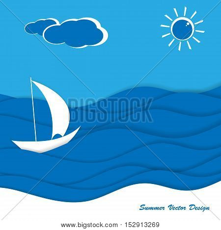 Seaside vector flat design. Illustration of the summer vacation. elements for your design. Eps10