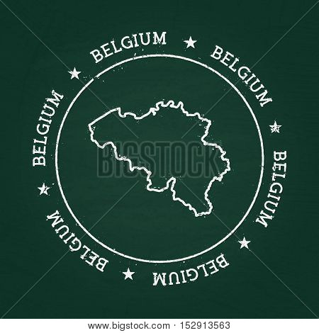 White Chalk Texture Rubber Seal With Kingdom Of Belgium Map On A Green Blackboard. Grunge Rubber Sea