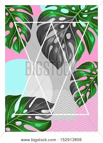Poster with monstera leaves. Decorative image of tropical foliage.