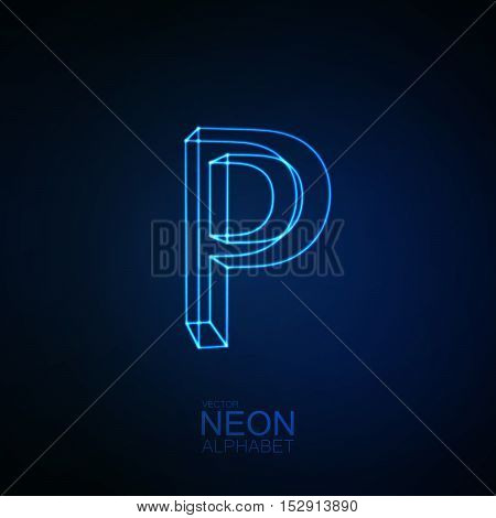 Neon 3D letter P. Typographic element. Part of glow neon alphabet. Vector illustration