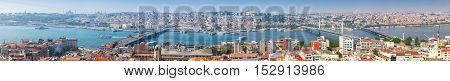 Istanbul Turkey - July 1 2016: Extra wide panoramic photo of Istanbul Turkey. Summer cityscape with Golden Horn shot taken from the viewpoint of Galata tower