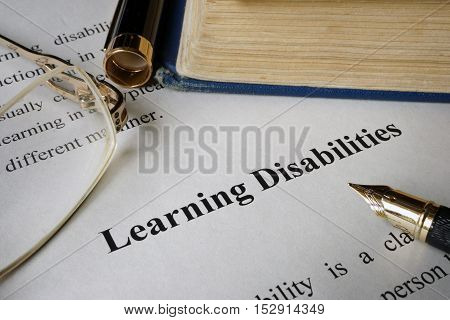 Learning disabilities on a sheet on an office table.