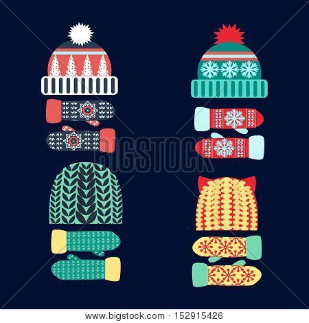 Set winter icons. Vector collection of knitted woolen Hat and mittens. Winter hat and mittens vector illustration set