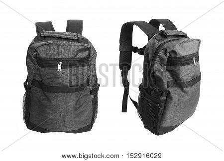 Grey backpack standing isolated on white background