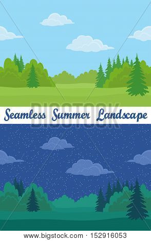Set of Horizontal Seamless Background Landscapes, Day and Night Summer Forest with Green Grass, Fir Trees, Clouds and Blue Sky. Eps10, Contains Transparencies. Vector