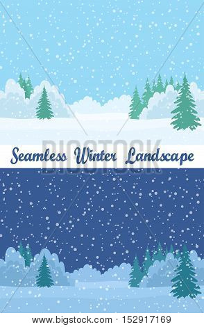 Set of Christmas Horizontal Seamless Background Landscapes, Day and Night Winter Forest with White Snow, Fir Trees and Blue Sky. Eps10, Contains Transparencies. Vector