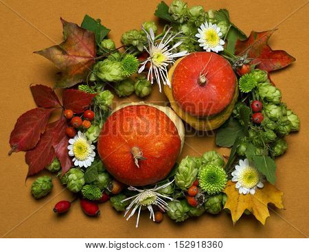 A composition of autumn leaves, decorative pumpkins, hops and dog-rose berries