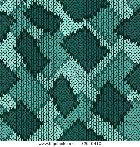 Knitting Seamless Scrappy Pattern In Turquoise Hues