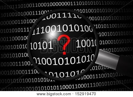 Binary code with question mark and magnifying lens on black background