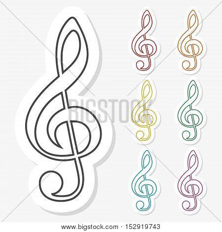 Multicolored paper stickers - Treble Clef icon on gray background