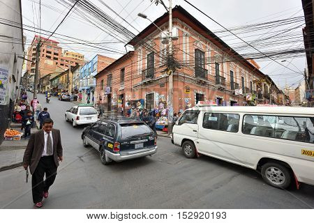 LA PAZ BOLIVIA - August 25 2016: Street of La Paz Bolivia on August 25 2016. La Paz in Bolivia is the highest administrative capital in the world
