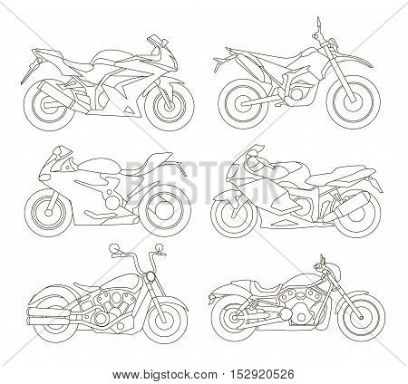 Motorcycle Icons Set In Flat Style Vector Illustrations Of Different Type Motorcycles