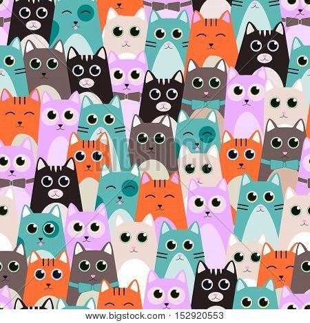 Seamless pattern with cute cats for kids. Vector illustration