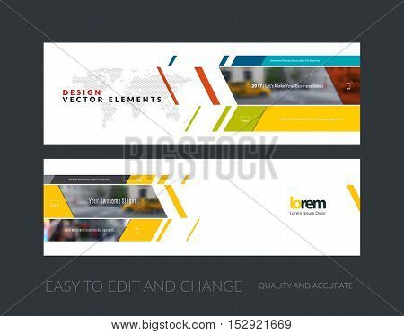 Vector set of modern horizontal website banners with rectangles and diagonals for business, building, consulting. Clean web headers design. Creative corporate flyer.