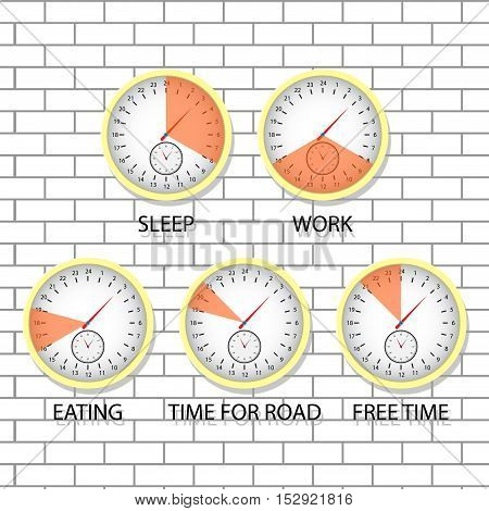 Time of sleep work eating. Time for road and free time schedule of routine vector illustration