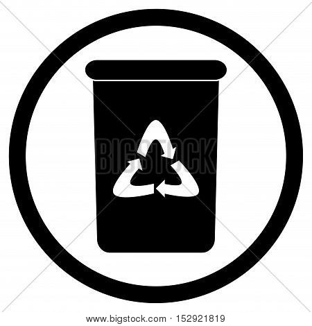 Bin icon black. Recycle and trash can rubbish bin and garbage bin. Vector illustration