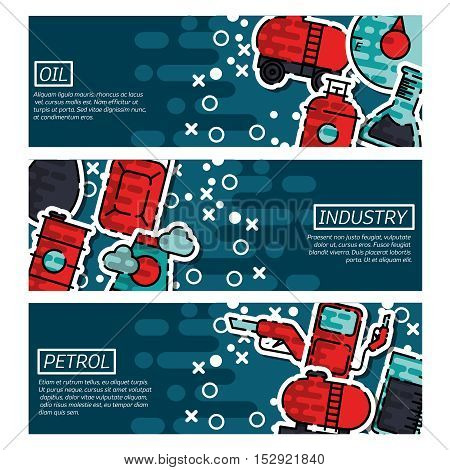 Three horizontal oil industry banner flat set with description of petroleum product oil extraction petroleum industry vector illustration