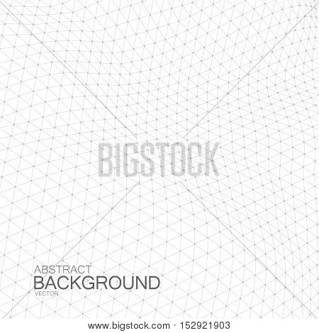 3D space grid. Vector illustration of geometric distorted cyberspace grid. Technology background