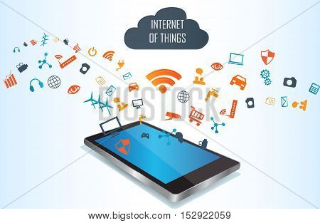 Smart phone conecting to cloud with multiple internet of things applications.Cloud of application. Internet of Things.