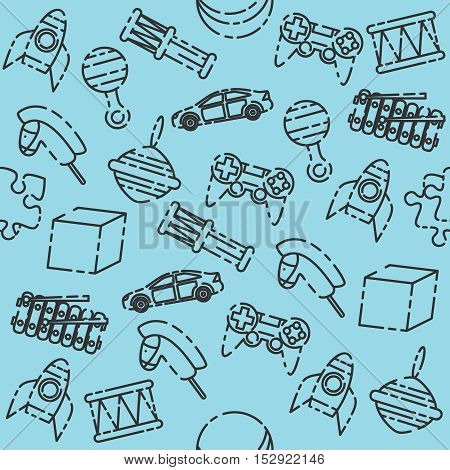 Toys pattern. Variety of childrens toys. Vector illustration, EPS 10