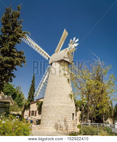 The Montefiore Windmill opposite the western city walls of the Old City in Jerusalem, Israel