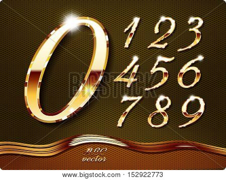 Golden stylish digits, with shadow and reflections. Set. Zero 0 One 1 Two 2 Three 3 Four 4 Five 5 Six 6 Seven 7 eight 8 nine 9. vector .