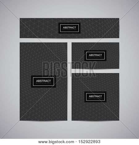 Set of corporate business identity. Stationery design with abstract polygonal triangulated space grid. Vector illustration. Brochure, card, flyer, banner template