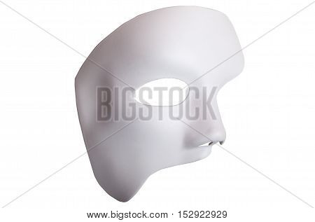 White Scary Halloween Mask Isolated On White Background.