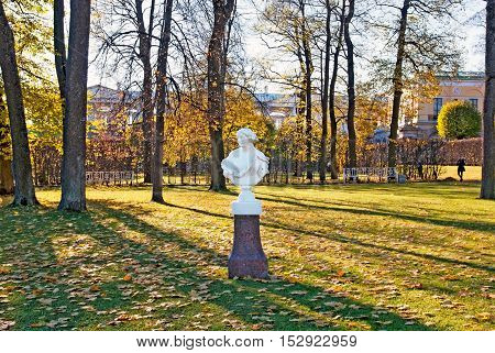 TSARSKOYE SELO, SAINT - PETERSBURG, RUSSIA - OCTOBER 19, 2016: The Allegory of Spring Sculpture (Primavera) in The Catherine Park. The Tsarskoye Selo is State Museum-Preserve