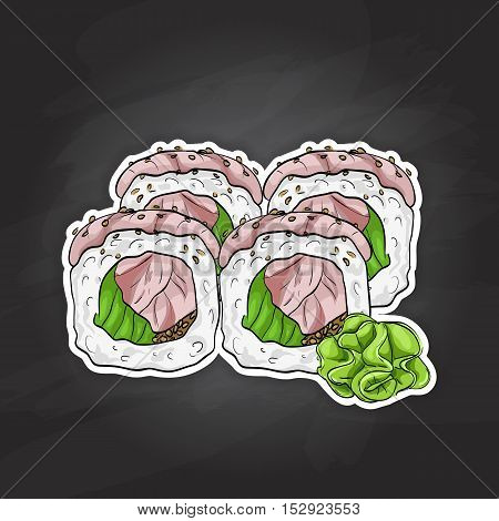 Vector sushi color sketch, Hamachi roll. Japanese cuisine, traditional food icon. Perfect isolated vector illustration