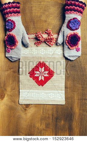 Grey Canvas Tote Gift Bag With A Red Bow Pattern.