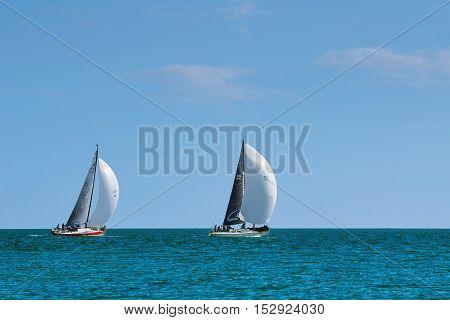 VARNA BULGARIA - September 30 2016: Yaht Regatta Pro-Am Race along the Bulgarian Black Sea Coast