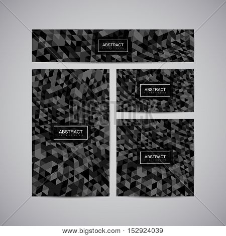 Set of corporate business identity. Stationery design with abstract polygonal distorted triangulation. Vector illustration. Brochure, card, flyer banner template