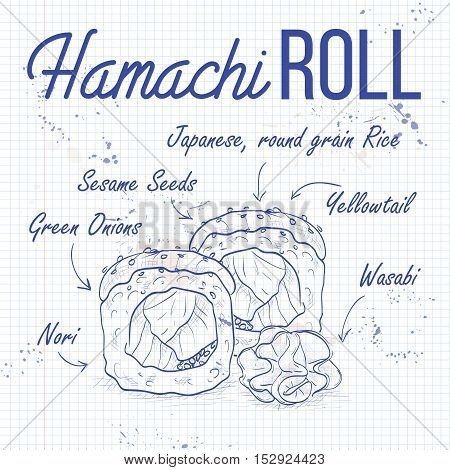 Vector sushi roll sketch, Hamachi Roll recipe on a notebook page