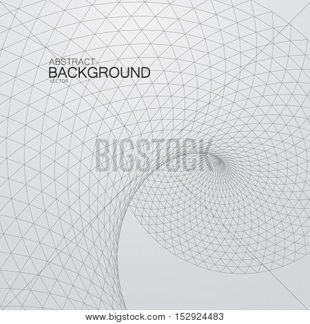 3D twisted cyberspace grid. Vector illustration of distorted cyberspace grid. Technology background