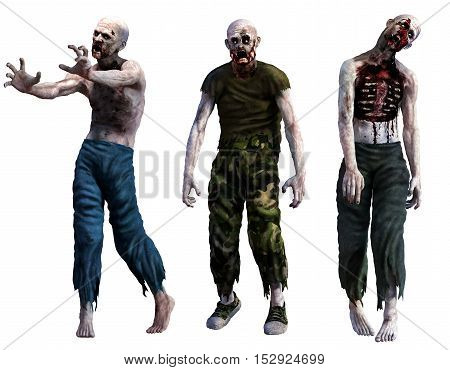 Three attacking bloody horror zombies 3D illustration