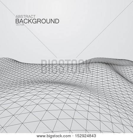 3D cyberspace grid. Vector illustration of distorted cyberspace grid. Technology background