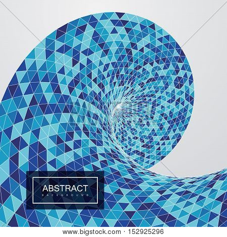 3d abstract polygonal twisted background with blue triangulated helix shape or wave. Vector geometric illustration.