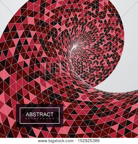 3d abstract polygonal twisted background with triangulated red helix shape or wave. Vector geometric illustration.