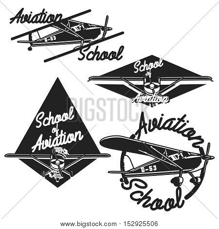Vintage Aviation emblems, labels and design elements