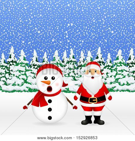 Santa Claus and Christmas snowman in a snowy forest are standing, vector illustration