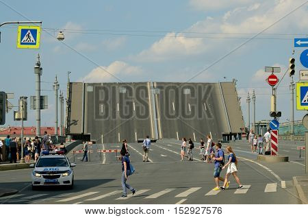03.07.2016.Russia.Saint-Petersburg.The bridgewhich is diluted by the day due to technical prevention.