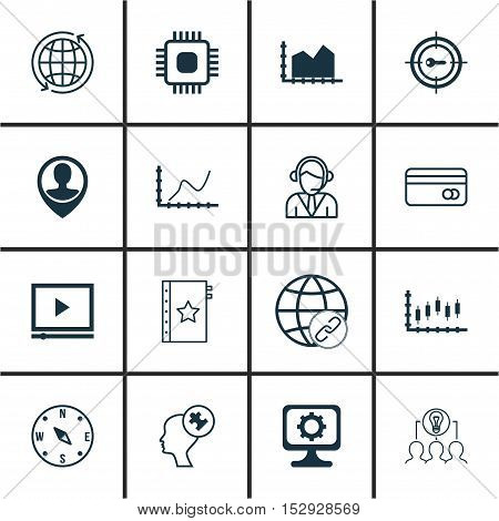Set Of 16 Universal Editable Icons For Marketing, Travel And Business Management Topics. Includes Ic