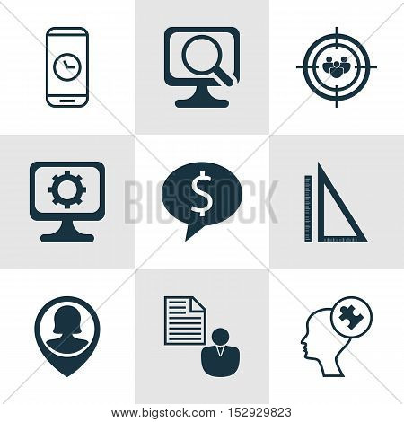 Set Of 9 Universal Editable Icons For Seo, Advertising And Business Management Topics. Includes Icon