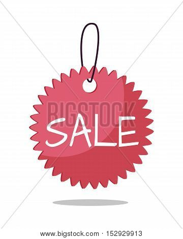 Sale tag vector illustration. Flat style. Round price tag with text, tear  on string. For store goods sales and discounts advertising. Product label design. Black friday. On white background