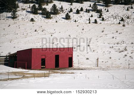 Red horse barn near Cripple Creek Colorado
